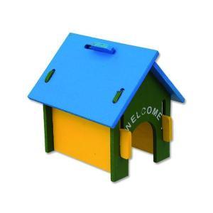 Domek SMALL ANIMAL dřevěný barevný 17x15x17,5cm