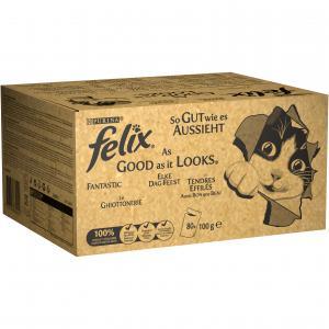 FELIX Fantastic 80x100g s hovězím, kuřetem, tuňákem a treskou v želé