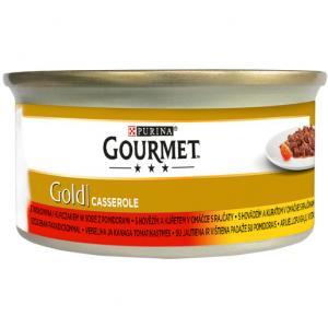 GOURMET Gold KK Casserole s hovězím a kuřetem v rajčatové omáčce 85 g