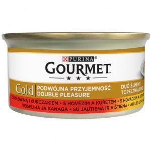 GOURMET Gold KK Směs dušených a grilovaných kousků s hovězím a kuřetem 85 g