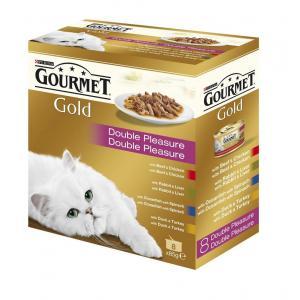 GOURMET Gold směs dušených a grilovaných kousků v multibalení 8 x 85g