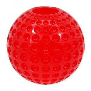 Hračka DOG FANTASY Strong míček gumový s důlky červený 6,3 cm