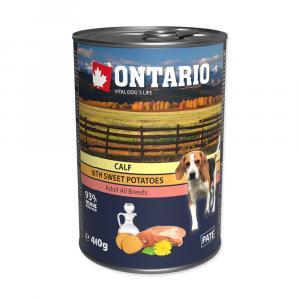 Konzerva ONTARIO mini calf, sweetpotato, dandelion and linseed oil 400g