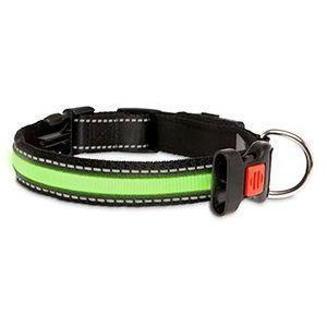 LED nylonový obojek zelený s USB nabíjením, 66cm