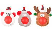 Ilustrační obrázek Flamingo Vianočná hračka plyšová hlava gumový nos pre psov 21cm