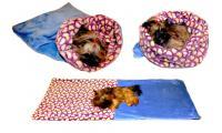 Ilustrační obrázek Maryse pelech 3v1 pre psov, srdiečka / modrý, veľkosť XL