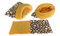 Ilustrační obrázek Maryse pelech 3v1 pre šteniatka / mačiatka, hnedý-kytky / žltý