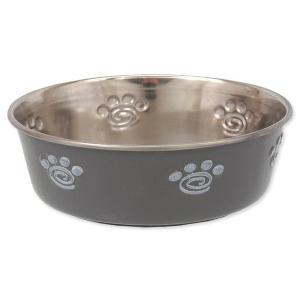 Miska DOG FANTASY nerezová s gumovým spodkem šedá - tlapka 0,18l