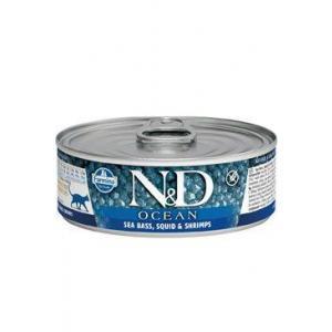 N&D CAT OCEAN Adult Sea Bass & Squid & Shrimps 80g