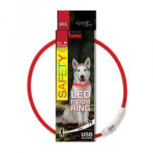 Obojok DOG FANTASY LED nylonový červený M / L