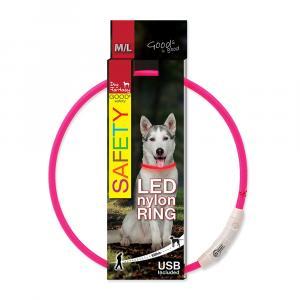 Obojok DOG FANTASY LED nylonový ružový M / L