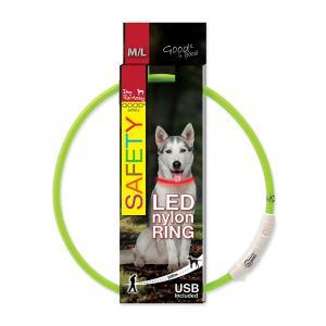 Obojek DOG FANTASY LED nylonový zelený M/L