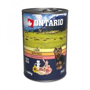 ONTARIO konzerva Lamb, Rice, Sunflower Oil 400g