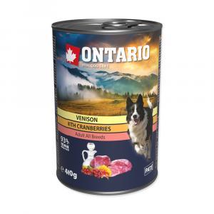 ONTARIO konzerva Venison, Cranberries, Safflower Oil 400g