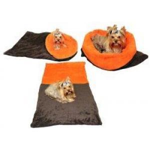 Pelíšek pro psy XL - tmavě šedá/oranžová