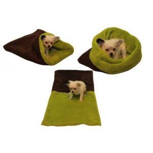 Pelíšek pro štěňátka/koťátka - tmavě hnědá/světle zelená