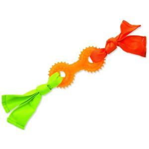 Přetahovadlo DOG FANTASY látkové s činkou oranžové 31 cm