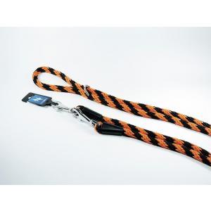 PROFIZOO Vodítko přepínací lano SPIRÁLA (14mm x 240cm) černo-oranž.