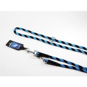 PROFIZOO Vodítko přepínací lano SPIRÁLA (6mm x 240cm) černo-modrá