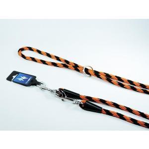 PROFIZOO Vodítko přepínací lano SPIRÁLA (6mm x 240cm) černo-oranž.